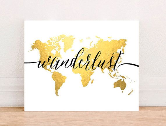 Wanderlust travel world map gold foil art print instant download wanderlust travel world map gold foil art print instant download vintage world map printable gumiabroncs Image collections