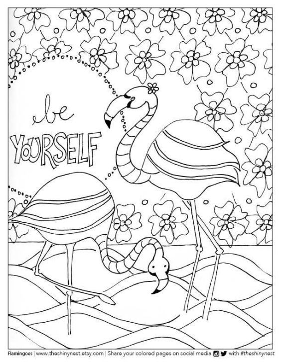 Beautiful Image Of A Flamingo Doodle Coloring Page For Teenage Girls
