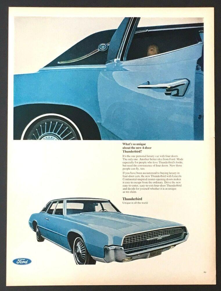 1967 Ford Thunderbird Advertisement 4 Door Blue Muscle Car Vintage