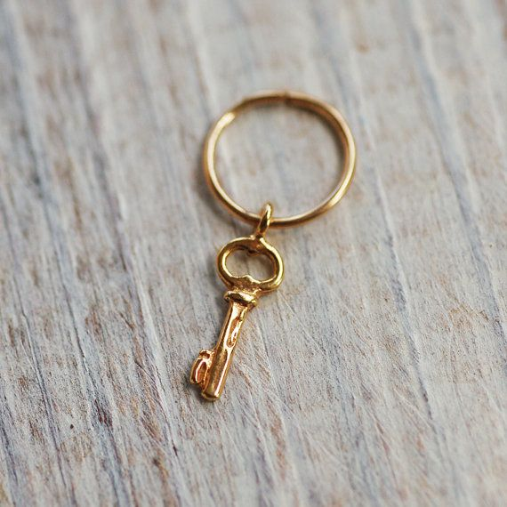 Small gold nose hoop key hoop gold nose ring 14k by junelittleshop