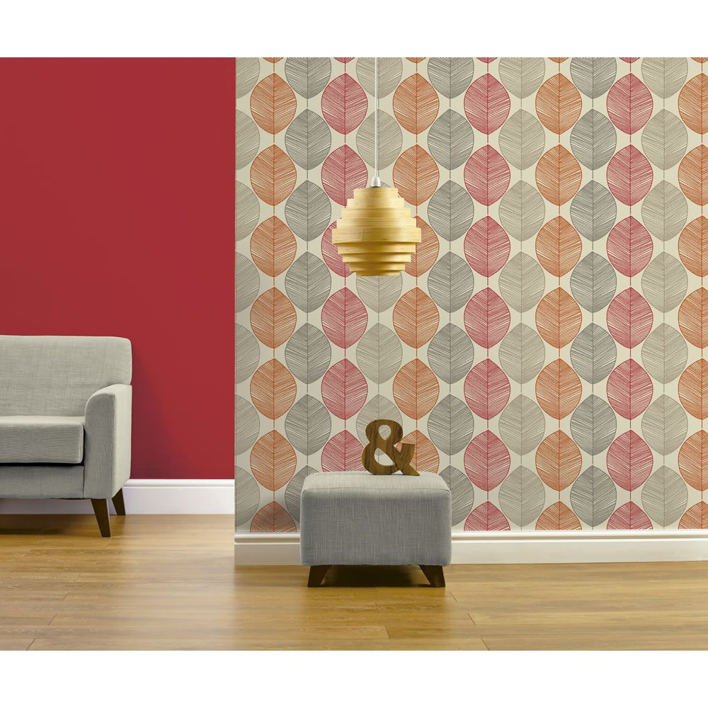 Arthouse Retro Leaf Red Wallpaper At Wilko Com Tapety Kitchen