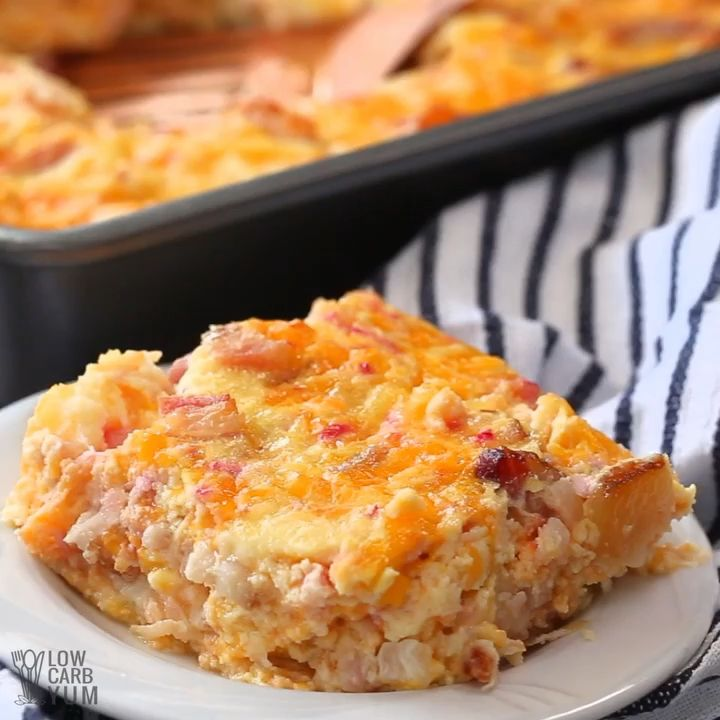 A Cheesy Keto Breakfast Casserole That Can Be Made Ahead