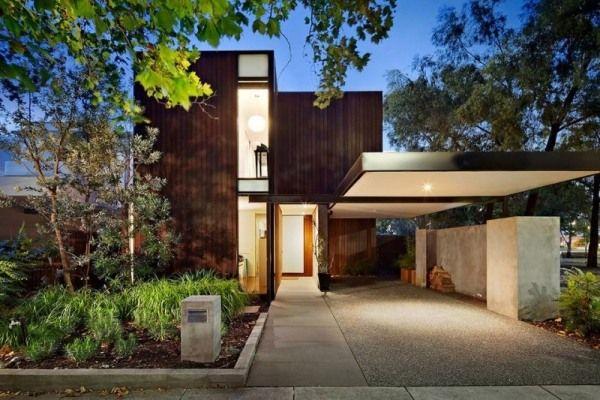 Modernes holzhaus flachdach  Wohnhaus Holz-Beton Eingang Beleuchtug-Überdachung | Überdachung ...