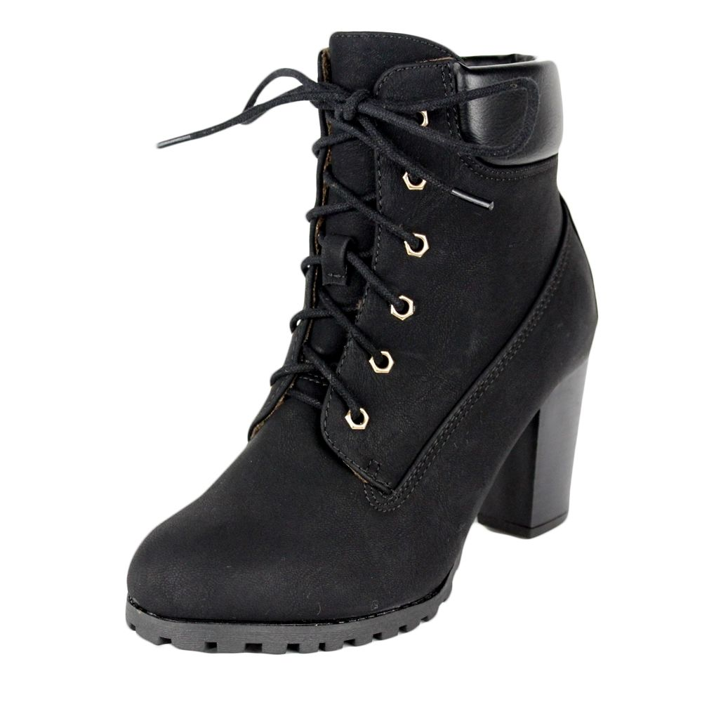 Women's Closed Toe Lace-Up Tassel Chunky Block Heel Ankle Bootie