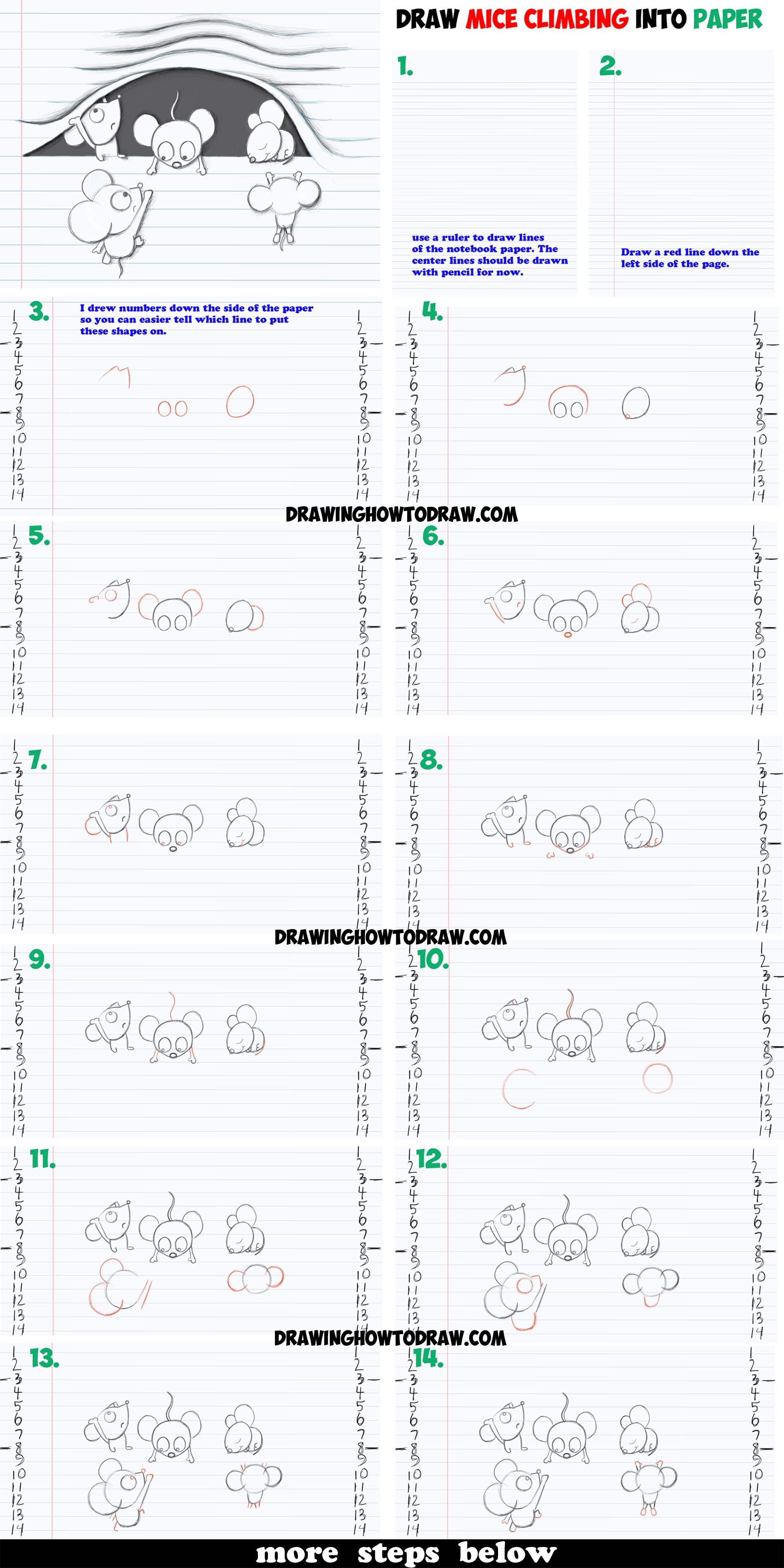 How to Draw Optical Illusion of Cartoon Mice Characters