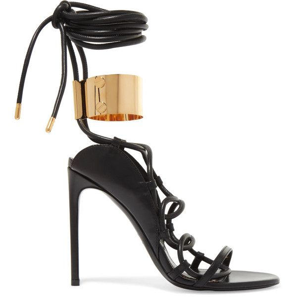 TOM FORD Embellished leather sandals ($1,590) ❤ liked on Polyvore featuring shoes, sandals, heels, footwear, high heels, heeled sandals, black laced shoes, black lace up sandals, lace-up heel sandals and black high heel shoes