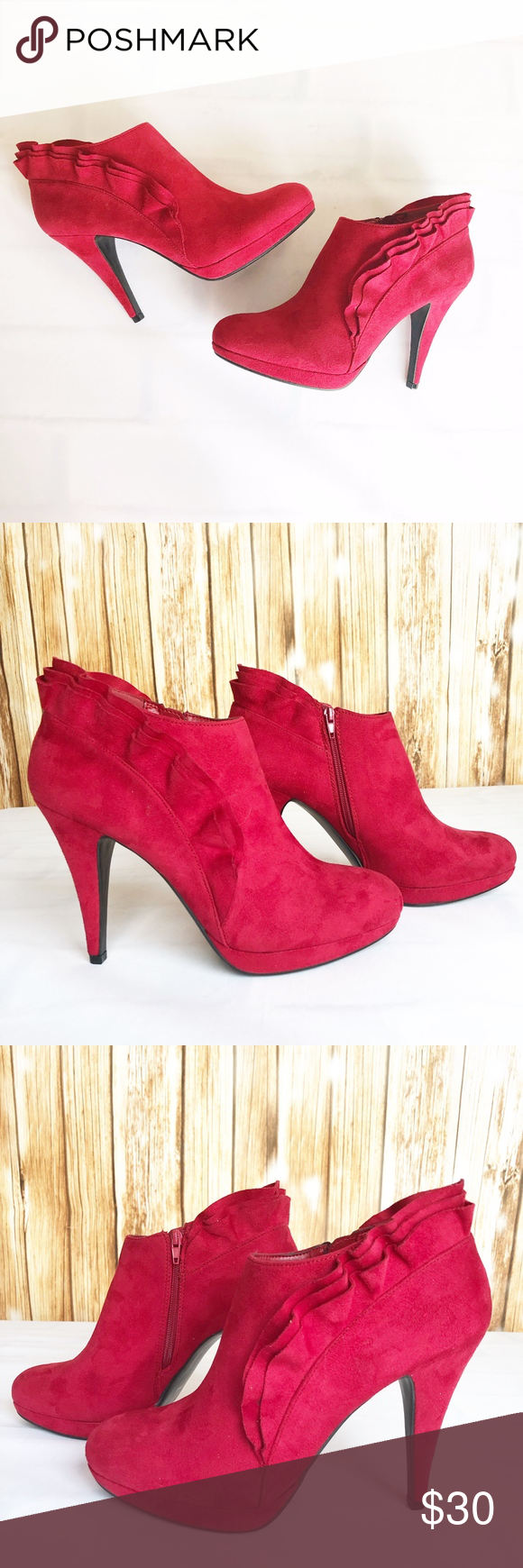 37b7505be1b98 Impo Priscilla Booties Ankle Boots Red Womens 8.5 Impo