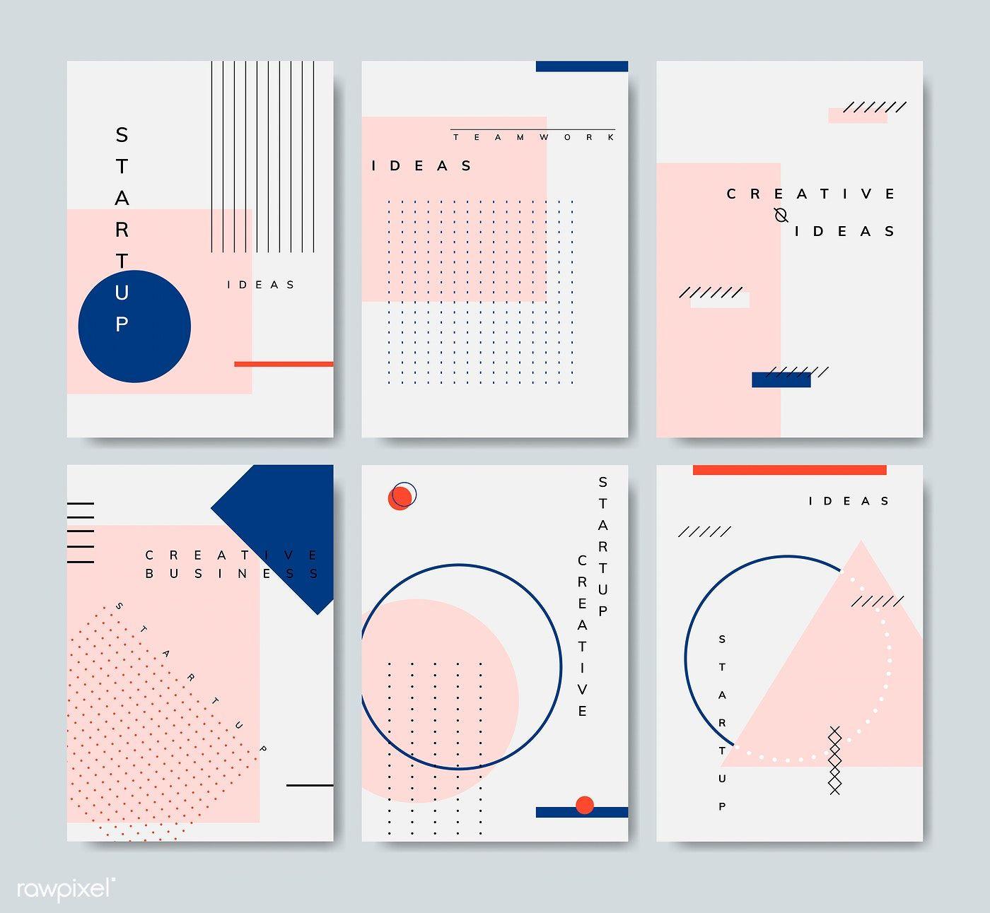 Download free vector of Set of minimal Memphis design start-up poster