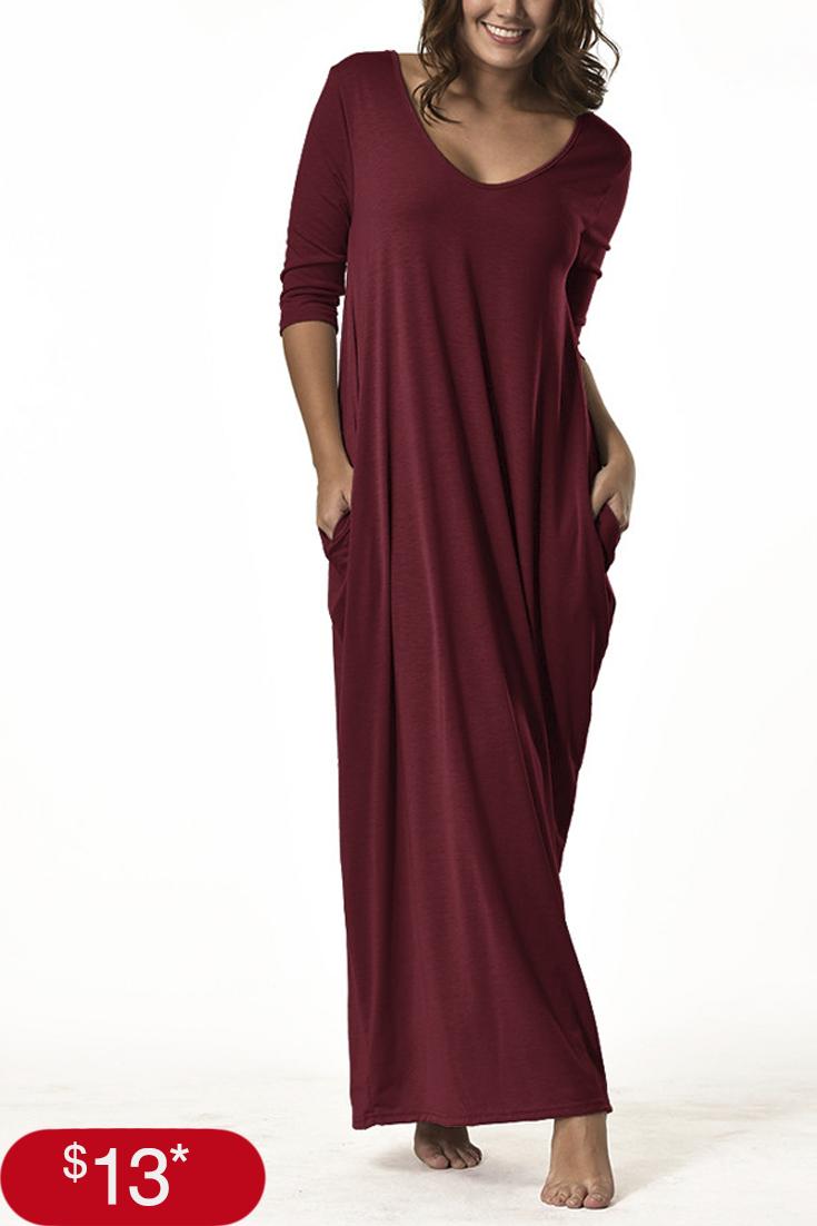 fashion women plus size dress sleeve vneck casual long