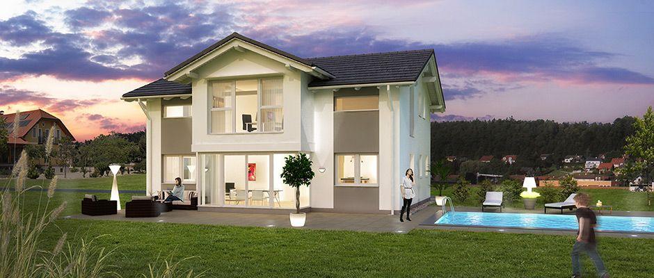 sattel 147b das 147 m2 mali haus mit satteldach und panoramaverglasung haus bauen grundriss. Black Bedroom Furniture Sets. Home Design Ideas