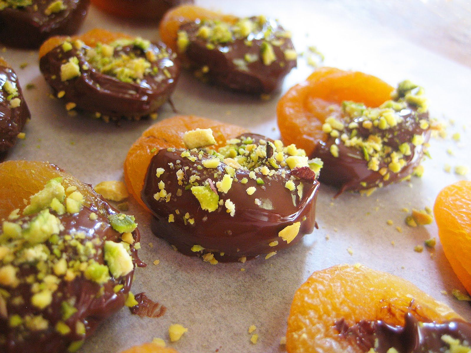 Chocolate-Dipped Apricot and Pistachio Parable (dark chocolate... a must)