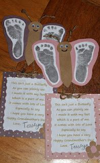 """""""This isn't just a butterfly as you can plainly see. I made it with my feet which is a part of me. it comes with lots of Love Especially to say I hope you have a very Happy Grandmother's Day!""""   *maybe perfect for grandparents day."""