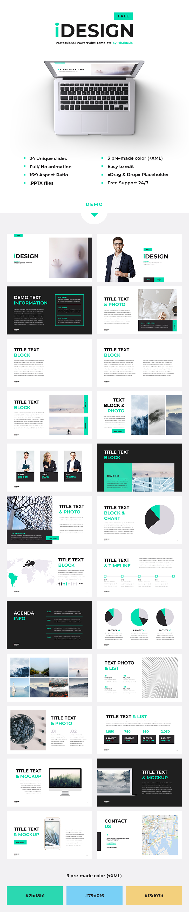 Idesign free powerpoint template 24 unique slides 3 pre made idesign free powerpoint template 24 unique slides 3 pre made color toneelgroepblik Gallery