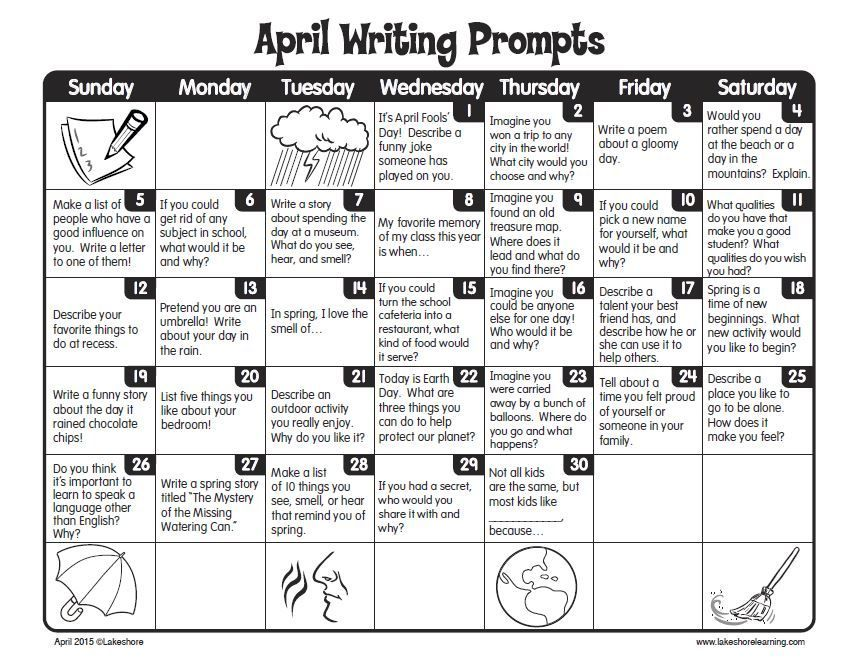 FREE Printable April Writing Prompts Calendar  Perfect for journal writing centers or use with early finishers Thanks Lakeshore Learning prompts for kids