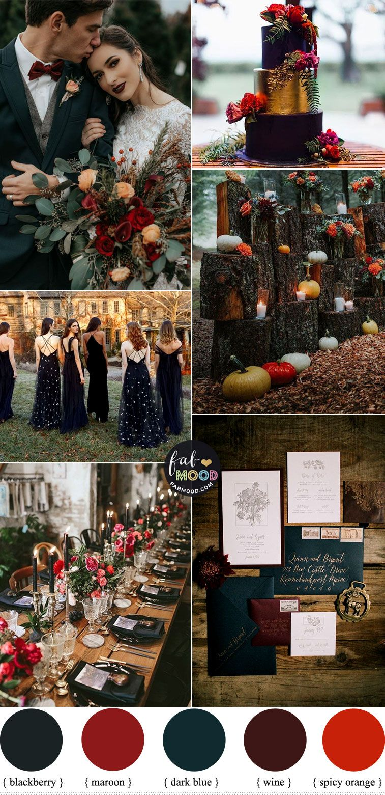 Autumn wedding colors 2019 { Blackberry + Dark Blue + Maroon + Spicy Orange + Wine }