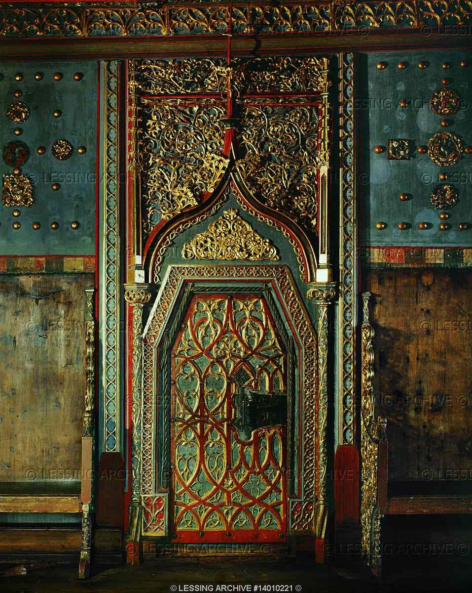Medieval ornament th wooden door with carved ornaments