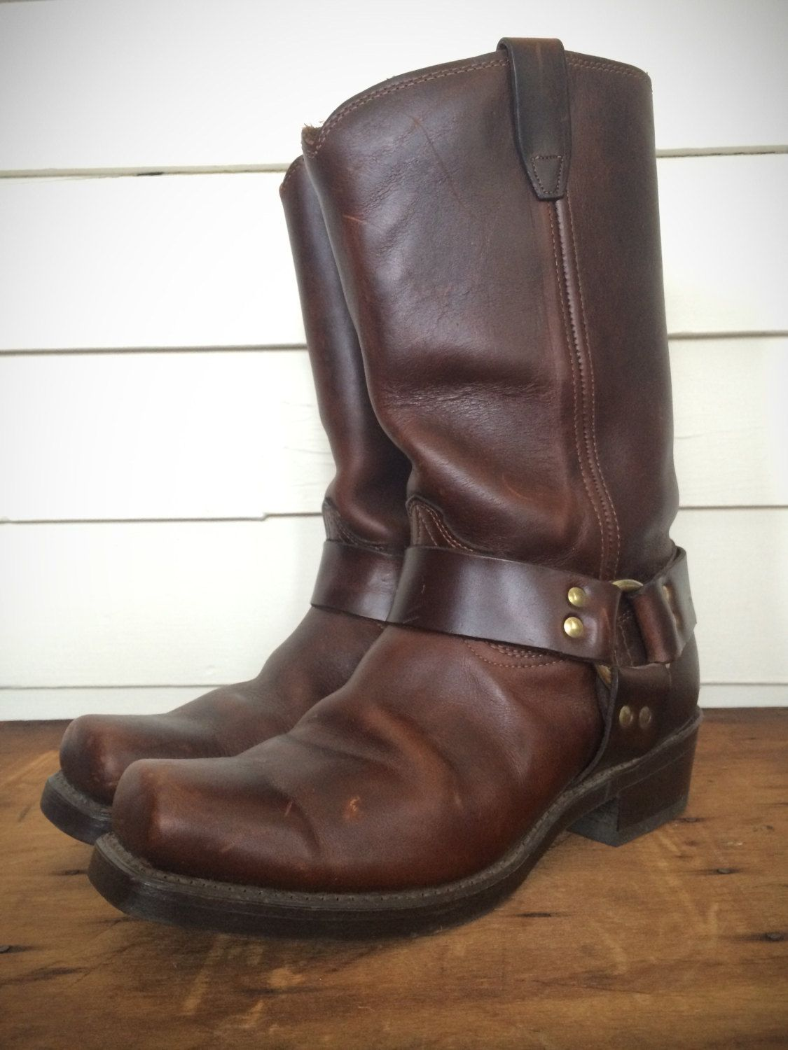 d09a85d7f84f02 Vintage Durango Brown Leather Harness Motorcycle Boots Size 8 1 2 EE by  CampCreekVintage on Etsy