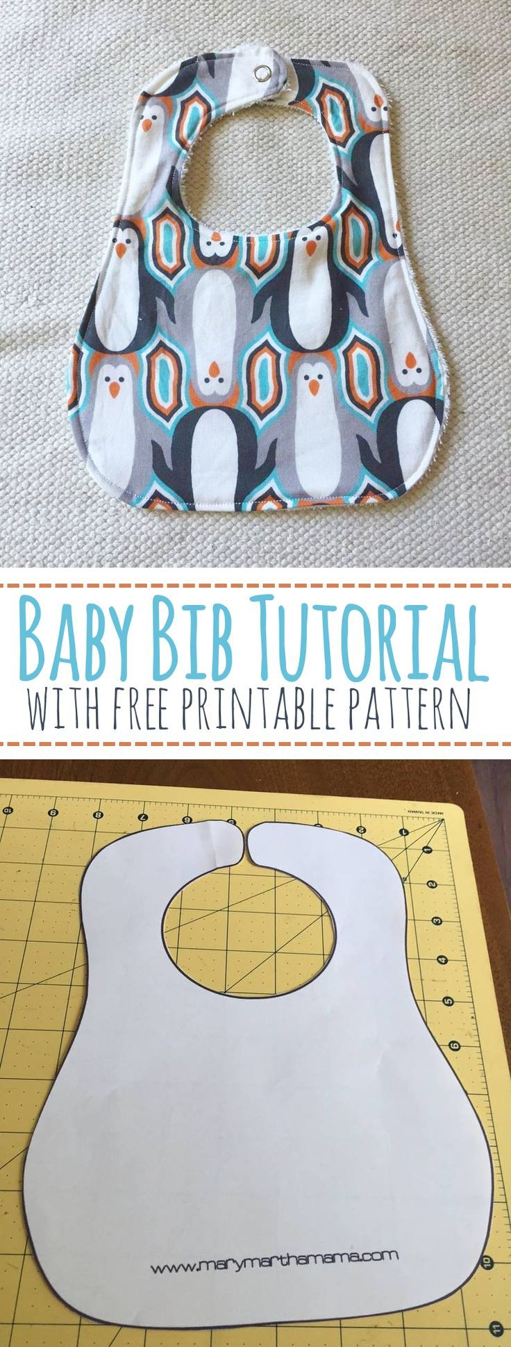 Baby Bib Tutorial with Free Printable Pattern – Mary Martha Mama- How to make a