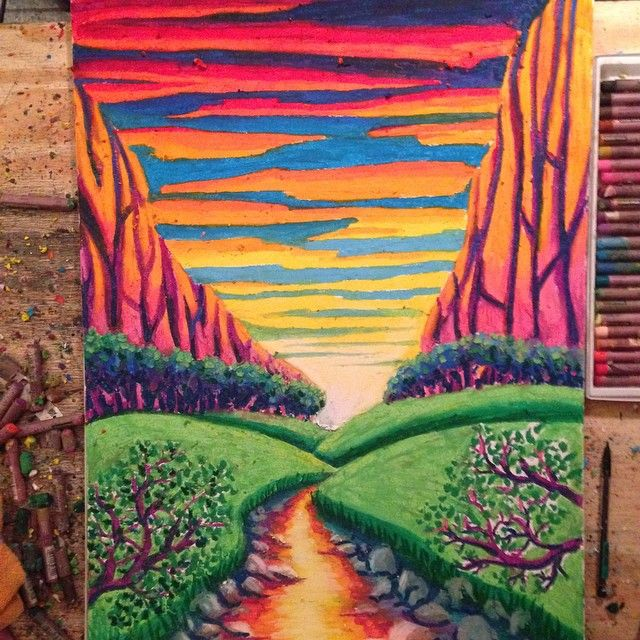 A Beautiful And Bright Landscape Make With Vibrant Cray Pas Colors By Andrew Sheppard Oil Pastel Drawings Beautiful Art Oil Pastel