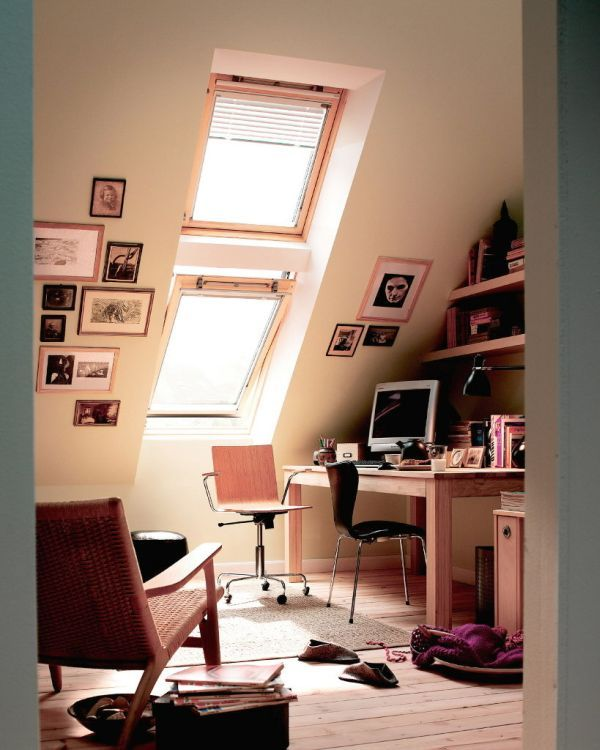 Small Bathroom Designs Slanted Ceiling attic-office-designed-for-a-girl | attic, ceilings and window