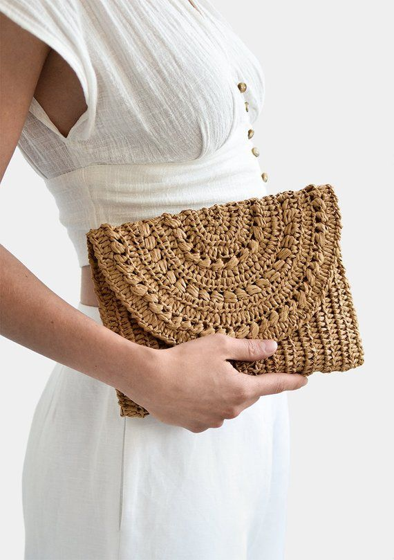 Crochet Raffia Clutch Purse, Straw Summer Bag, Raffia Clutch Handbag, Tan Crochet Summer Bag, Crochet Straw Clutch, Summer Crochet Bag #crochethandbags