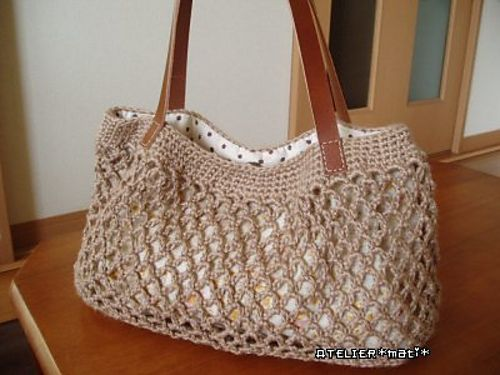 Simple Net Crochet Bag Free Pattern Bolsas Pinterest