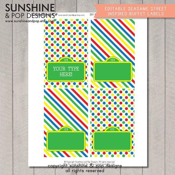 INSTANT DOWNLOAD  EDITABLE Sesame Street by SunshineAndPop on Etsy, $7.50