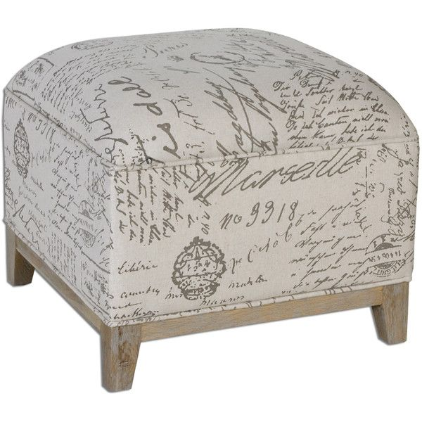 Petite French Script Ottoman ($365) ❤ Liked On Polyvore Featuring Home,  Furniture,
