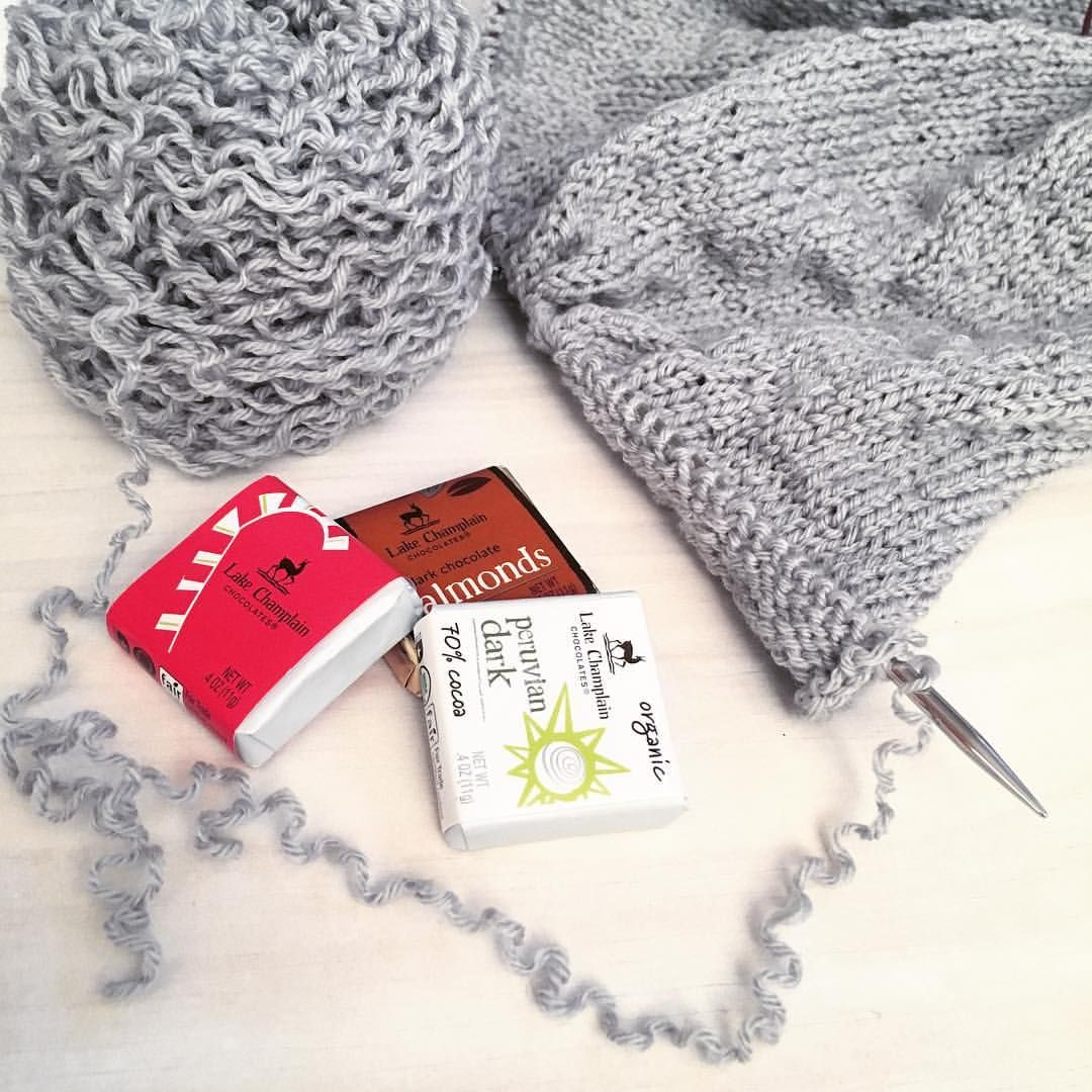 I'm using these little artisanal chocolates to help power through all the stockinette on my re-purposed yarn cardigan.