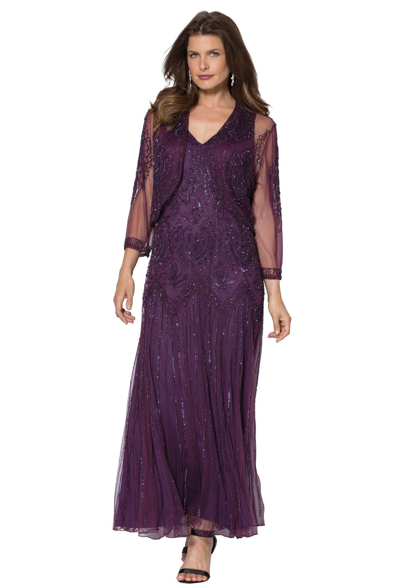 Illusion Jacket Dress | Plus Size Evening Dresses | Roamans | Plus ...