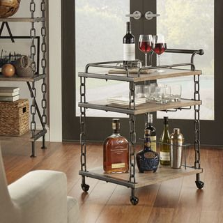 TRIBECCA HOME Myra Rustic Mobile Kitchen Bar Serving Wine Cart with Removable Tray Top | Overstock.com Shopping - The Best Deals on Bars