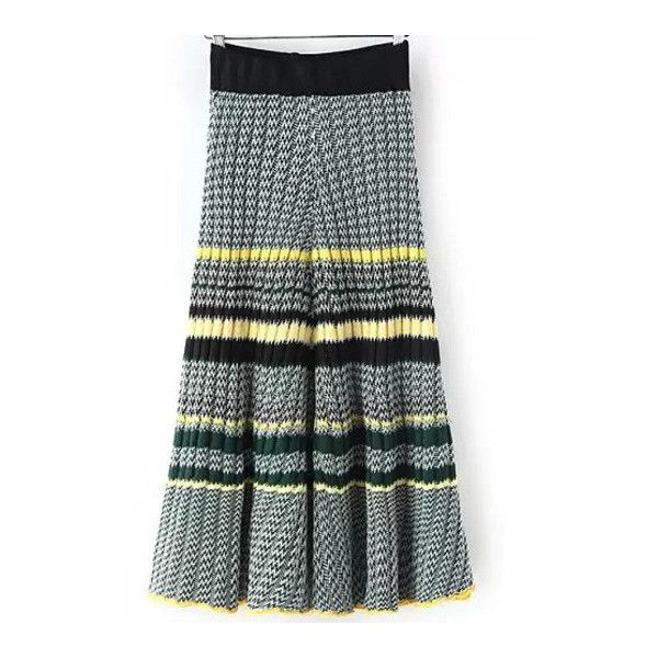 SheIn(sheinside) Black Zigzag Print Pleated Knit Skirt ($25) ❤ liked on Polyvore featuring skirts, black, long striped skirt, striped knit skirt, long pleated skirt, stripe skirt e black knit skirt