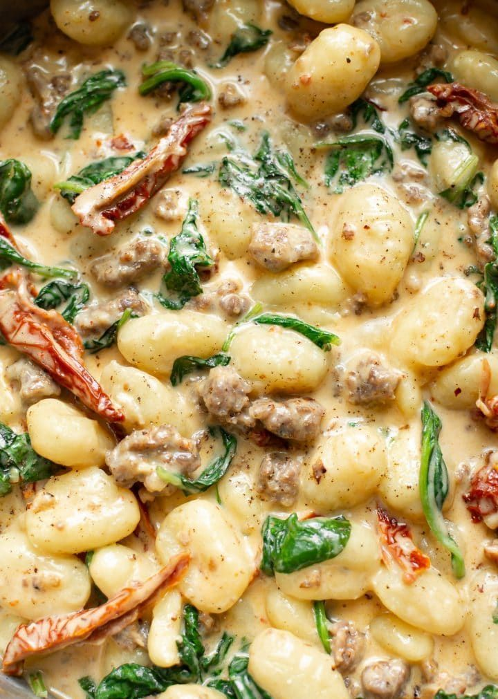 Creamy Tuscan Sausage Gnocchi (One Pan, 20 Minutes)