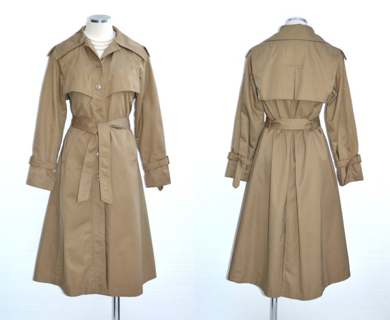70s Trench Coat MISTY DAY Vintage Military Style Jacket M Free Domestic and Discounted International Shipping