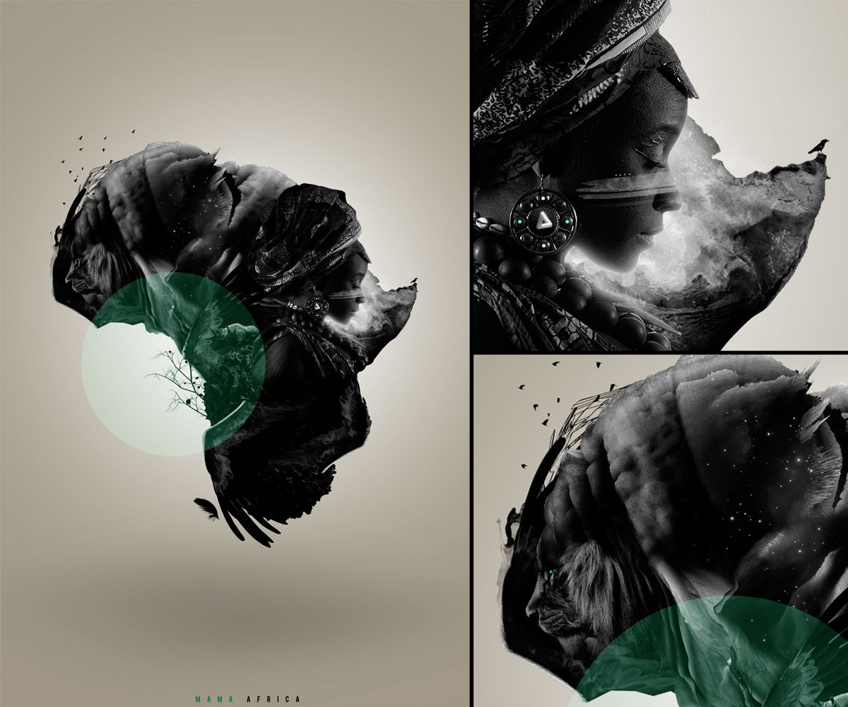 "My latest artwork titled ""Mama Africa"" I wanted to shape Africa out of design elements relating to Africa.     Follow this link to see a Hi-Res Version >   http://i41.tinypic.com/333hl5h.jpg    Completed with Cinema 4D & Adobe Photoshop    Stock images obtained from istockphoto.com and sxc.hu    All of the oddly shaped mountains/rocks was created in Cinema 4D."