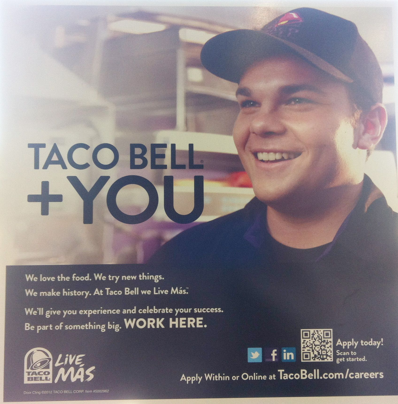Taco Bell is hiring... with QR codes Recruitment poster