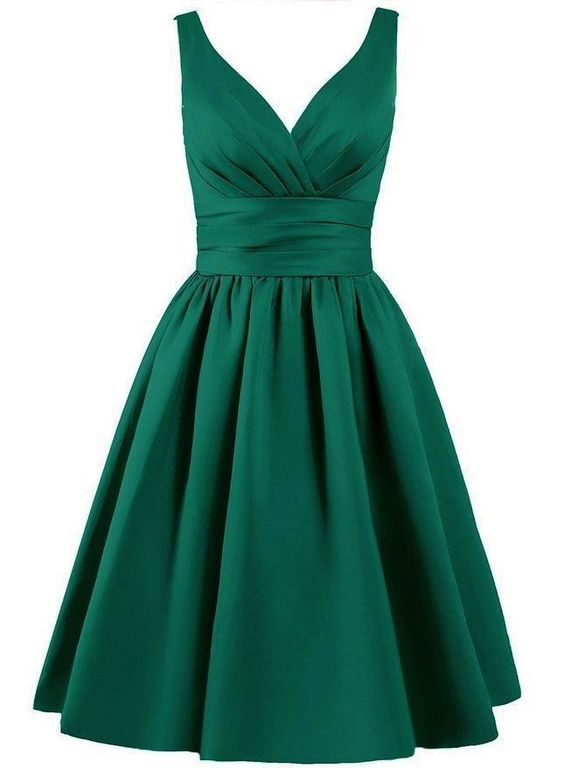 1395c2d17a8 Emerald Green Satin Knee Length A-Line Evening Dress Featuring ...