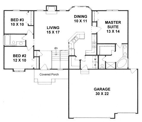 Plan 1417 3 Bedroom Ranch W Bay Windows And Tandem 3 Car Garage House Plans One Story Ranch House Plans Traditional House Plans