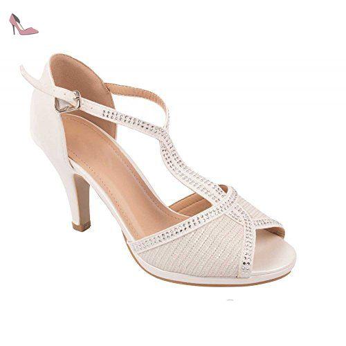 Chaussures mariage femme type Escarpins blanc nacré à strass bouts ouverts  & petit talon épais 7cm