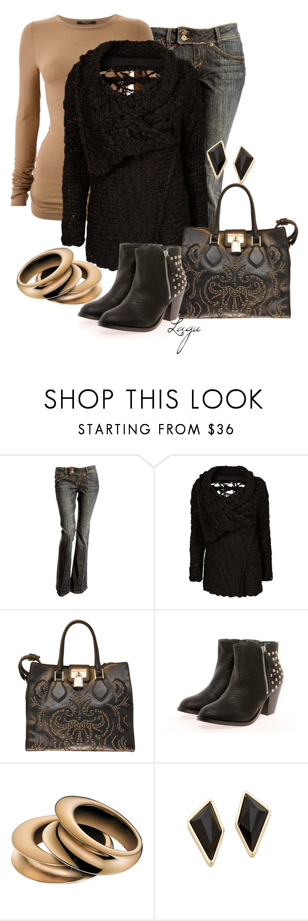 """""""Sweater and Studs"""" by lagu ❤ liked on Polyvore featuring Bruuns Bazaar, Replay, Roberto Cavalli, Calvin Klein and Belle Noel by Kim Kardashian"""