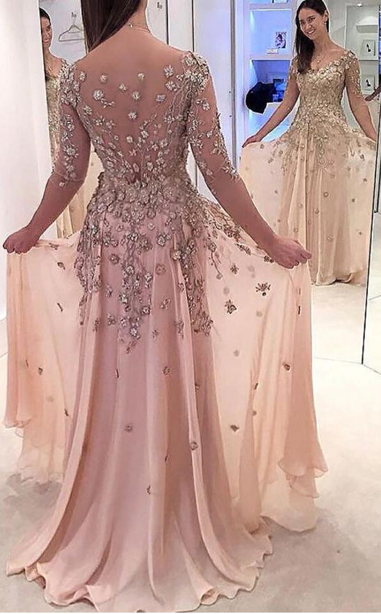A-Line Prom Dresses,Illusion Prom Dresses,Sheer Close Back Prom ...