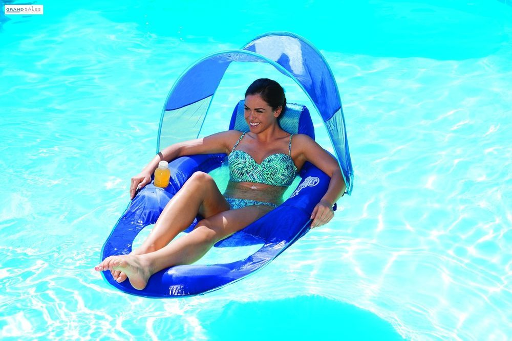 Attrayant Pool Floats For Adults Inflatable Recliner Canopy Water Lounge Raft Cup  Holder #SwimWays