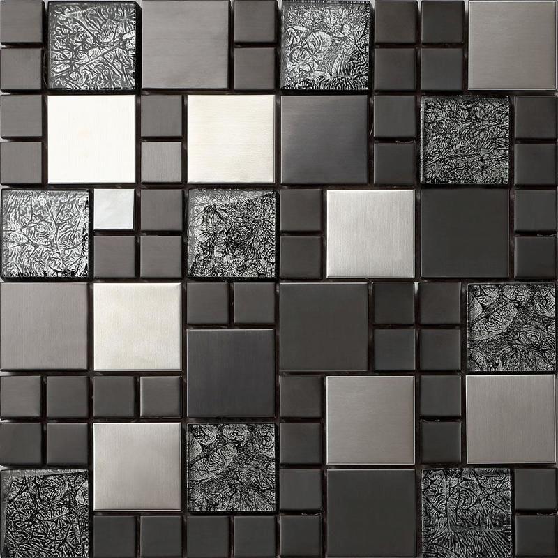 Carrelage Mosaique En Verre Et Acier Inoxydable Noir Argent