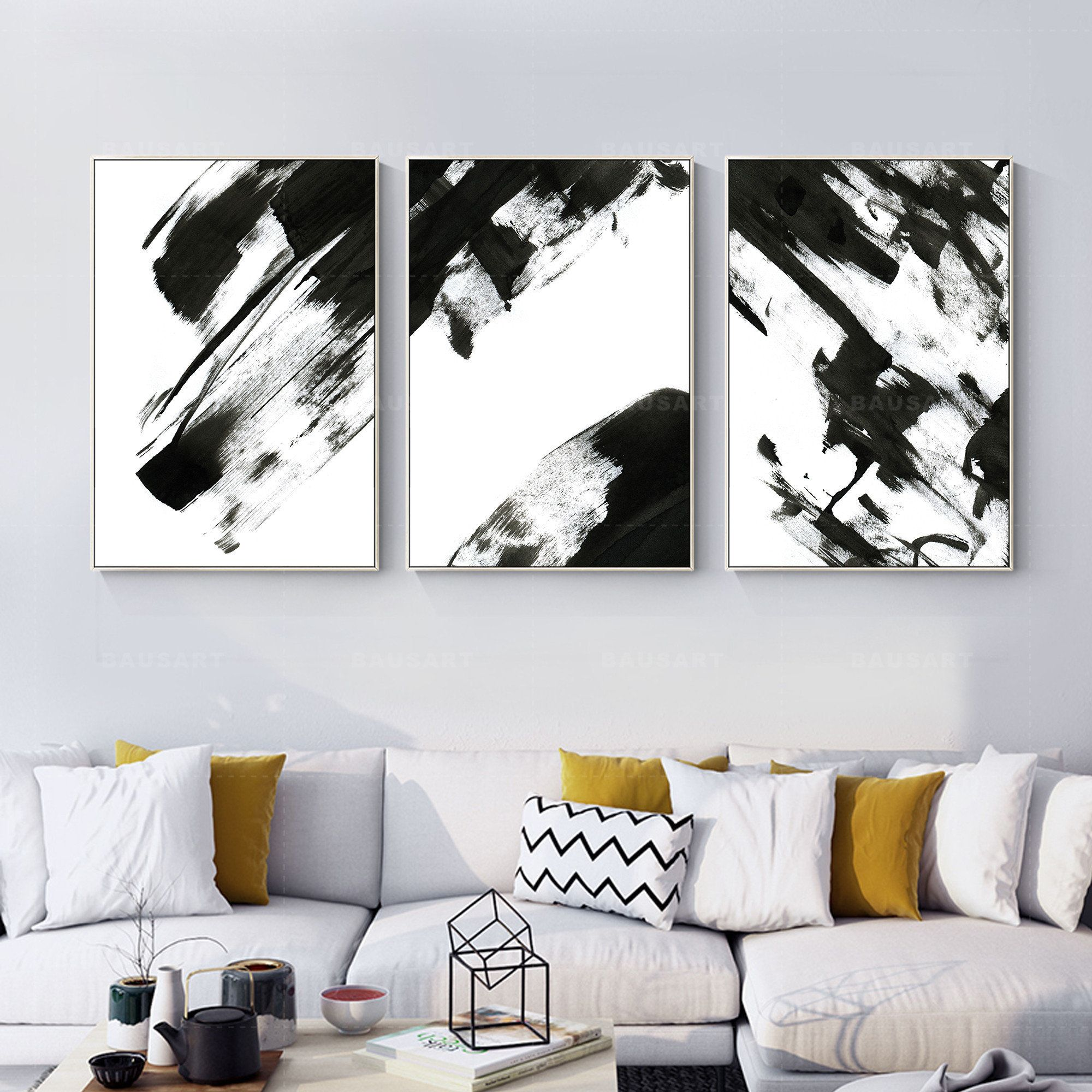Abstract Painting Print Framed Wall Art Set Of 3 Prints Etsy In 2020 Framed Canvas Prints Framed Wall Art Sets Abstract Painting Print