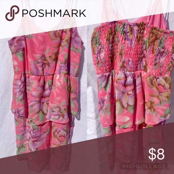 Pink floral dress Light weight adjustable strap summer dress size 4-10 Dresses