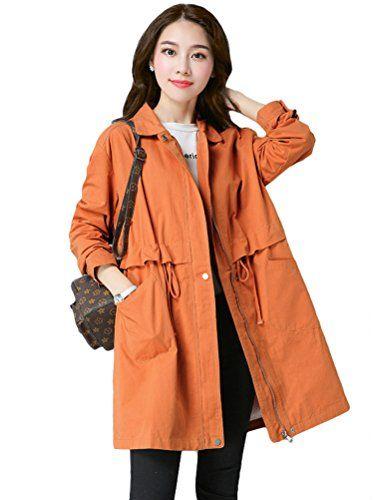 Boutonné Orange Veste L Manteau Fermeture Vogstyle Trench Poches À Avec Chic Elastique Femme Taille FaSxqg0