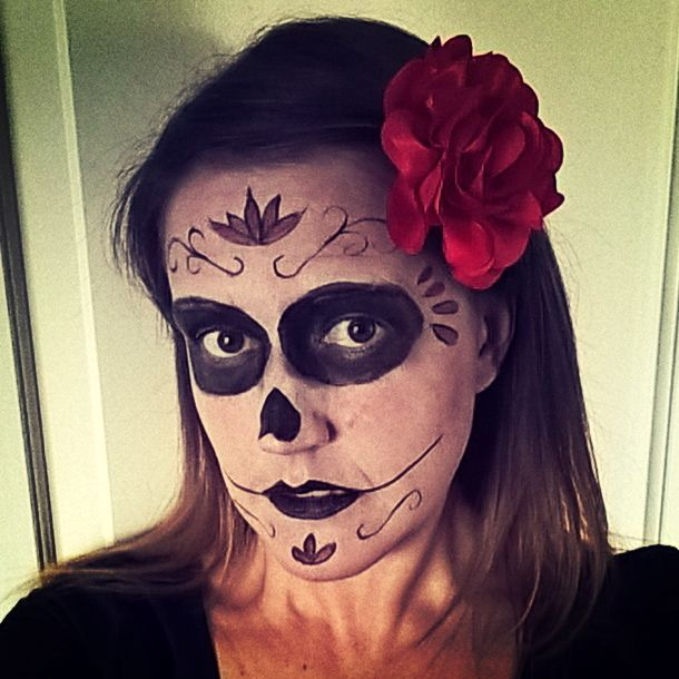 I think I prefer this make-up to my usual style  #sugarskull