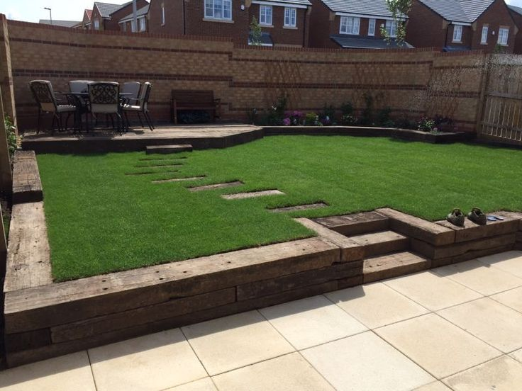 Railway sleeper steps, beds and patio | Sloped garden ... on Decking Ideas For Sloping Garden id=91633