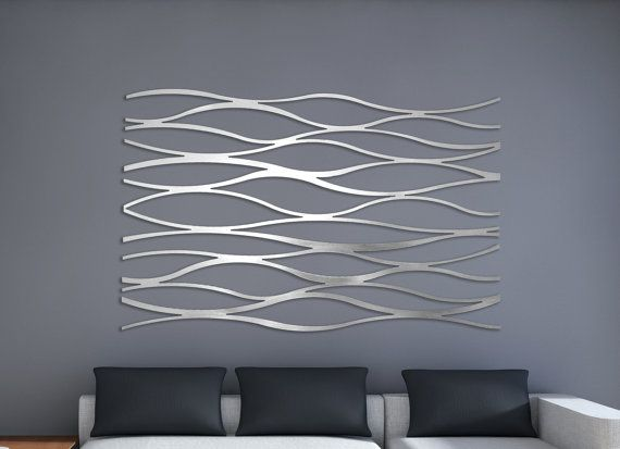 Laser Cut Metal Decorative Wall Art Panel Sculpture For Home, Office ,  Indoor Or Outdoor Use (Wave)