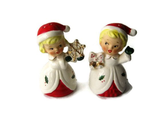Vintage Christmas Salt  Pepper Shakers Snowflake Girl and Jingle